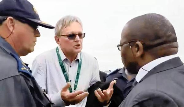 Lawyer Richard Spoor, centre, attempting to appeal to Mineral Resources Minister Gwede Mantashe. Picture: Twitter